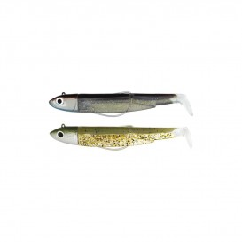 LEURRE SOUPLE DOUBLE COMBO BLACK MINNOW 90 + TETE PLOMBEE OFF SHORE